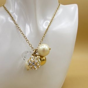 J.Crew Faux Pearl Rhinestone Goldtone Necklace